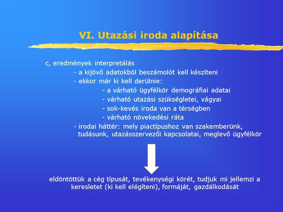 VI. Utazási iroda alapítása c, eredmények interpretálás - a kijövő adatokból beszámolót kell készíteni - ekkor már ki kell derülnie: - a várható ügyfé