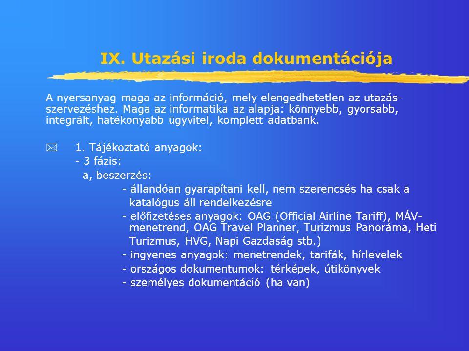 IX. Utazási iroda dokumentációja A nyersanyag maga az információ, mely elengedhetetlen az utazás- szervezéshez. Maga az informatika az alapja: könnyeb