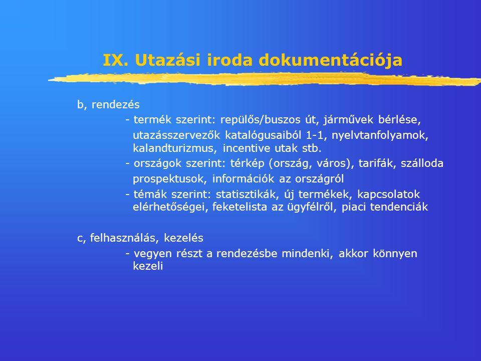 IX. Utazási iroda dokumentációja b, rendezés - termék szerint: repülős/buszos út, járművek bérlése, utazásszervezők katalógusaiból 1-1, nyelvtanfolyam