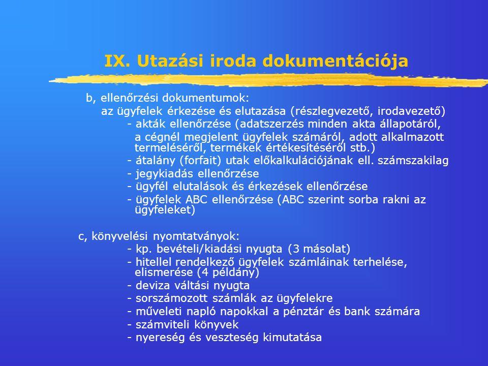 IX. Utazási iroda dokumentációja b, ellenőrzési dokumentumok: az ügyfelek érkezése és elutazása (részlegvezető, irodavezető) - akták ellenőrzése (adat