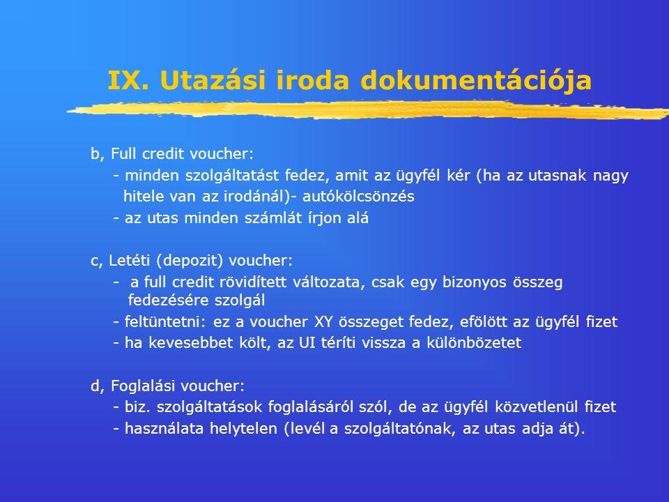 IX. Utazási iroda dokumentációja b, Full credit voucher: - minden szolgáltatást fedez, amit az ügyfél kér (ha az utasnak nagy hitele van az irodánál)-