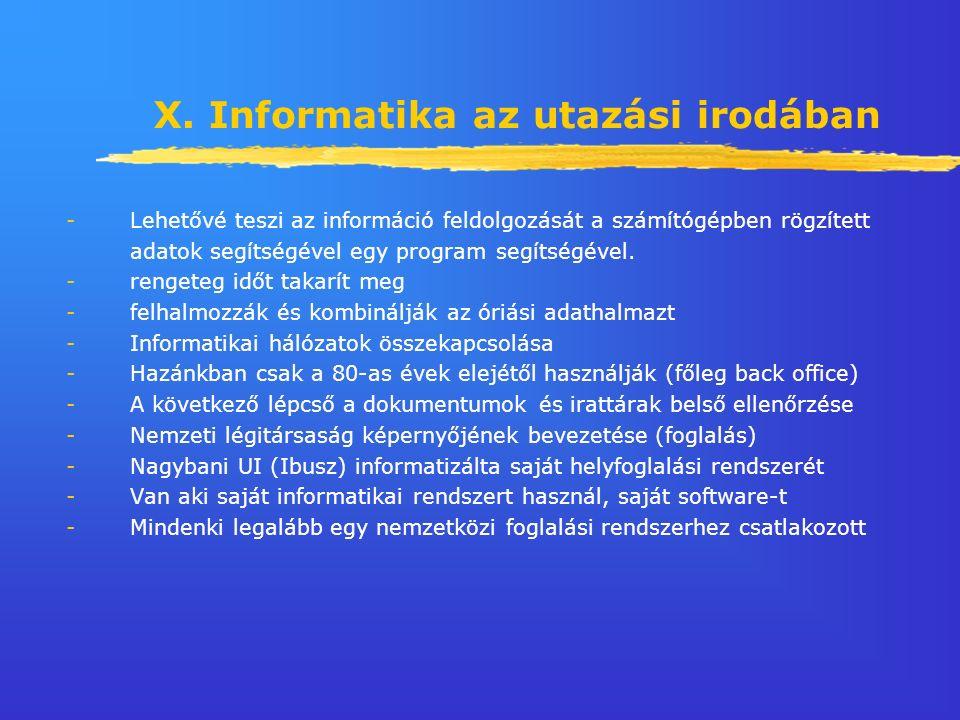 X. Informatika az utazási irodában -Lehetővé teszi az információ feldolgozását a számítógépben rögzített adatok segítségével egy program segítségével.