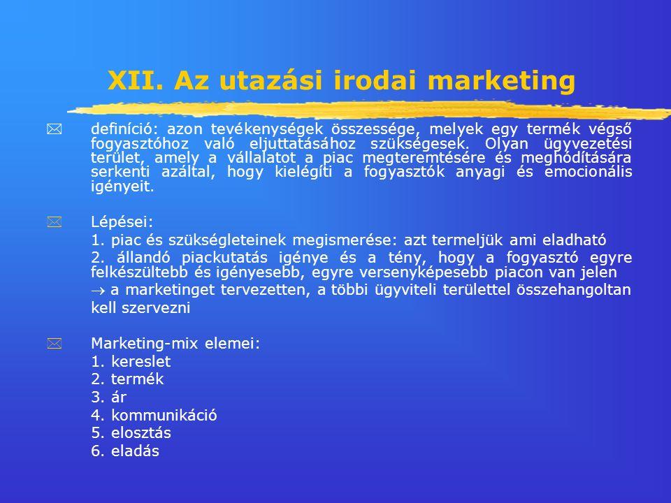 XII. Az utazási irodai marketing  definíció: azon tevékenységek összessége, melyek egy termék végső fogyasztóhoz való eljuttatásához szükségesek. Oly
