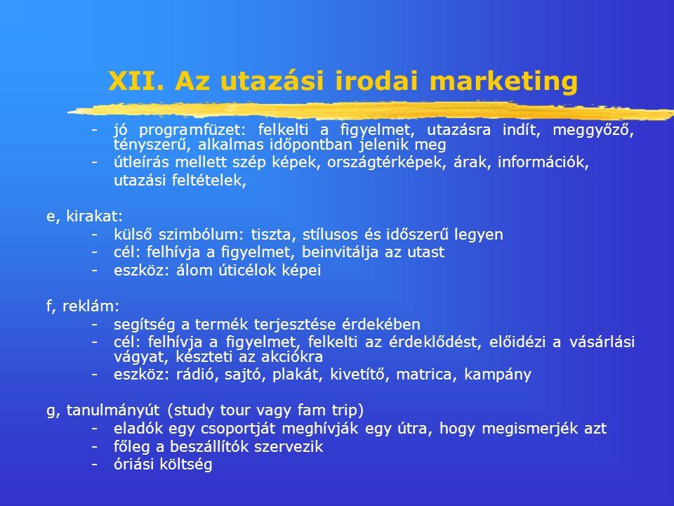 XII. Az utazási irodai marketing - jó programfüzet: felkelti a figyelmet, utazásra indít, meggyőző, tényszerű, alkalmas időpontban jelenik meg -útleír
