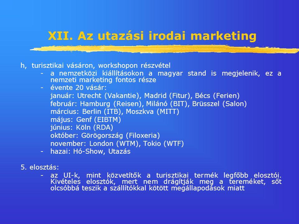 XII. Az utazási irodai marketing h, turisztikai vásáron, workshopon részvétel -a nemzetközi kiállításokon a magyar stand is megjelenik, ez a nemzeti m