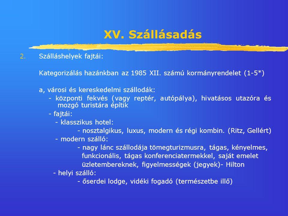 XV. Szállásadás 2.Szálláshelyek fajtái: Kategorizálás hazánkban az 1985 XII.