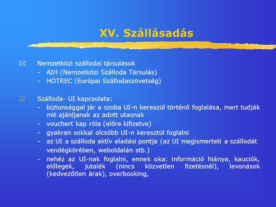 XV. Szállásadás  Nemzetközi szállodai társulások -AIH (Nemzetközi Szálloda Társulás) -HOTREC (Európai Szállodaszövetség) *Szálloda- UI kapcsolata: -