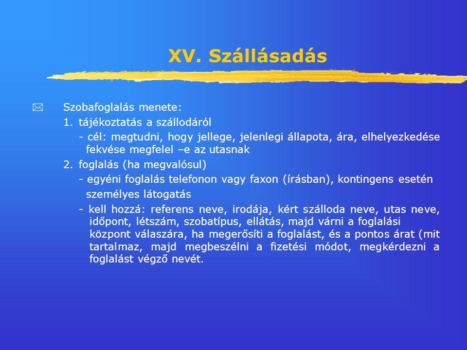 XV. Szállásadás  Szobafoglalás menete: 1.