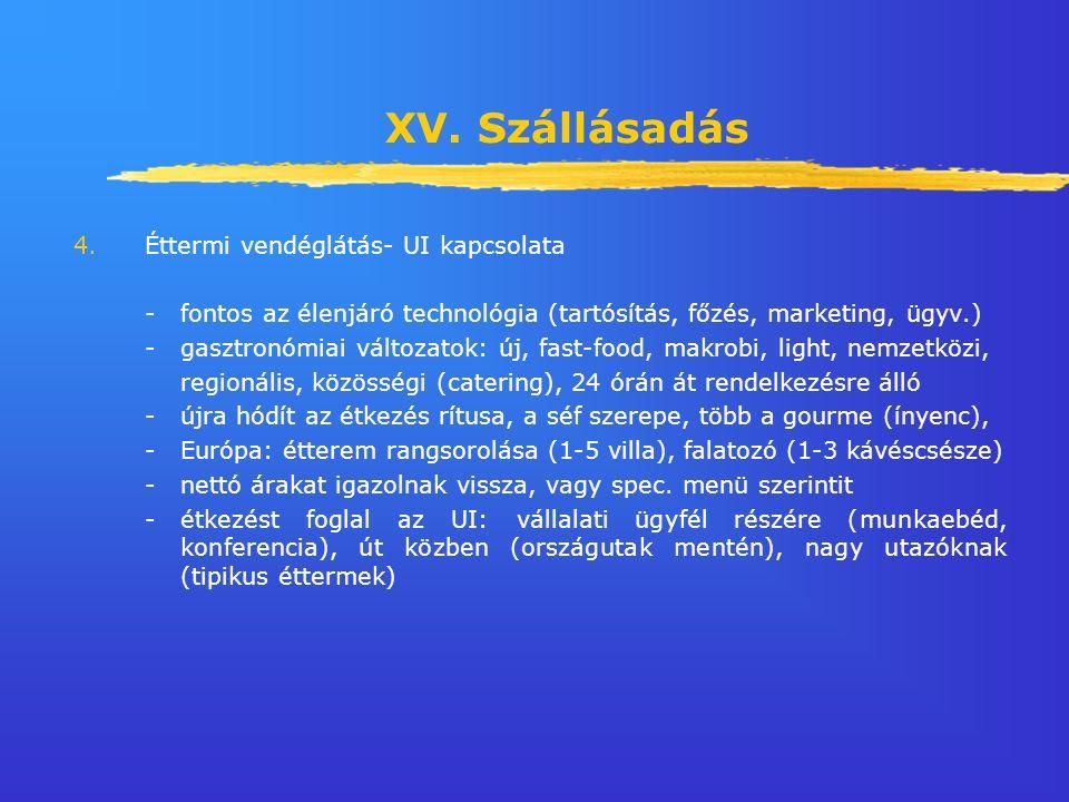 XV. Szállásadás 4.Éttermi vendéglátás- UI kapcsolata - fontos az élenjáró technológia (tartósítás, főzés, marketing, ügyv.) - gasztronómiai változatok