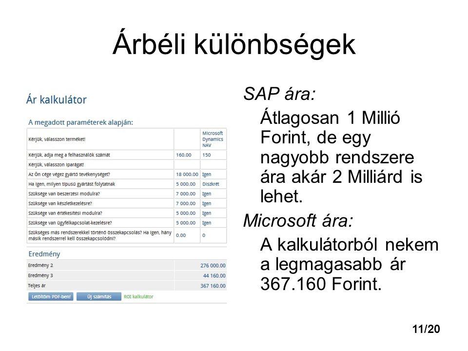 Árbéli különbségek SAP ára: Átlagosan 1 Millió Forint, de egy nagyobb rendszere ára akár 2 Milliárd is lehet. Microsoft ára: A kalkulátorból nekem a l