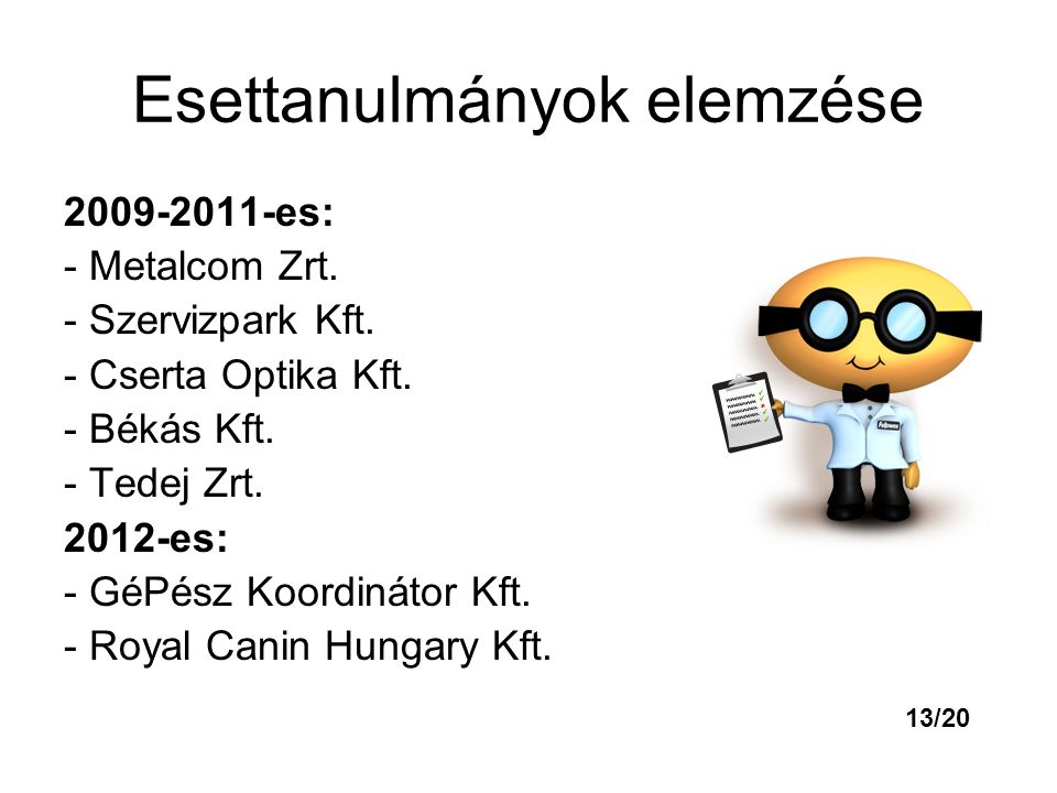 Esettanulmányok elemzése 2009-2011-es: - Metalcom Zrt. - Szervizpark Kft. - Cserta Optika Kft. - Békás Kft. - Tedej Zrt. 2012-es: - GéPész Koordinátor