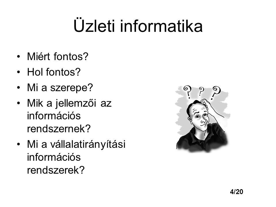Üzleti informatika Miért fontos? Hol fontos? Mi a szerepe? Mik a jellemzői az információs rendszernek? Mi a vállalatirányítási információs rendszerek?