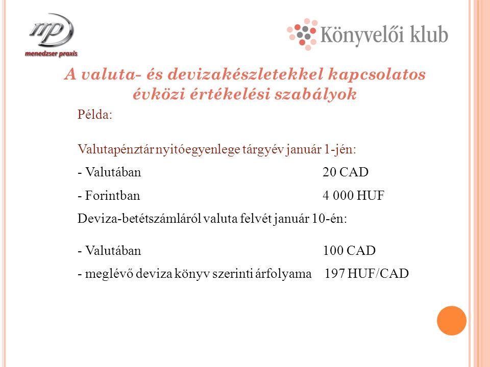 A valuta- és devizakészletekkel kapcsolatos évközi értékelési szabályok Példa: Valutapénztár nyitóegyenlege tárgyév január 1-jén: - Valutában20 CAD - Forintban4 000 HUF Deviza-betétszámláról valuta felvét január 10-én: - Valutában100 CAD - meglévő deviza könyv szerinti árfolyama 197 HUF/CAD