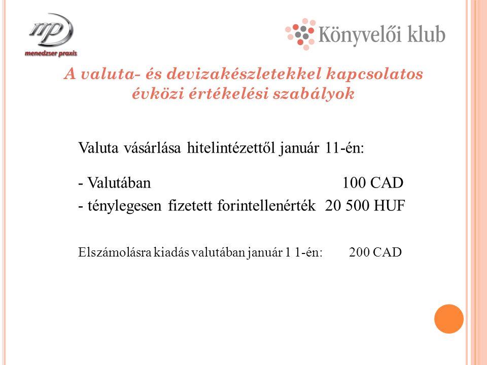 A valuta- és devizakészletekkel kapcsolatos évközi értékelési szabályok Valuta vásárlása hitelintézettől január 11-én: - Valutában 100 CAD - ténylegesen fizetett forintellenérték 20 500 HUF Elszámolásra kiadás valutában január 1 1-én: 200 CAD