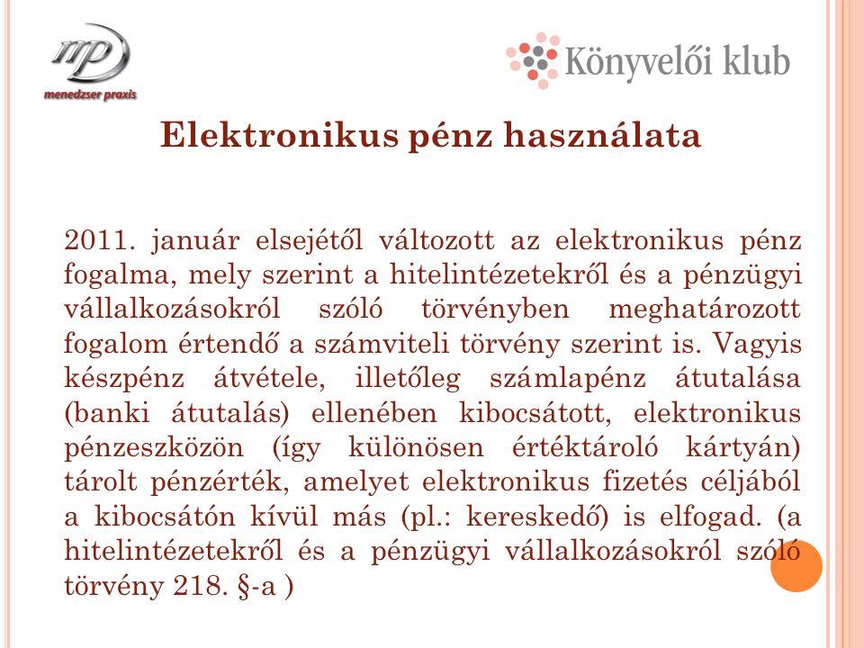 Elektronikus pénz használata 2011.