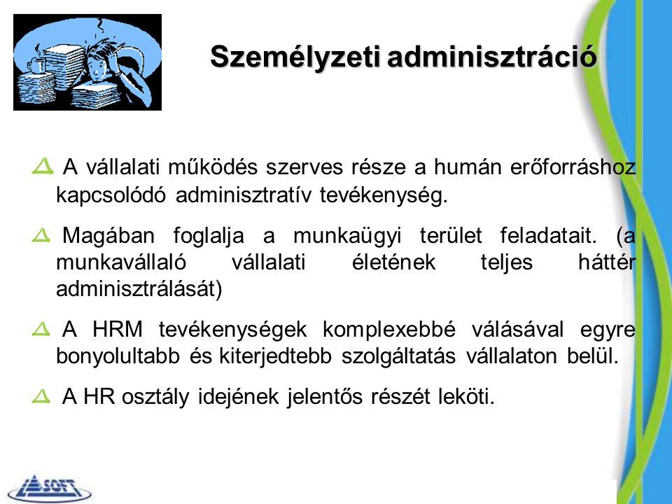 Személyzeti adminisztráció A vállalati működés szerves része a humán erőforráshoz kapcsolódó adminisztratív tevékenység.