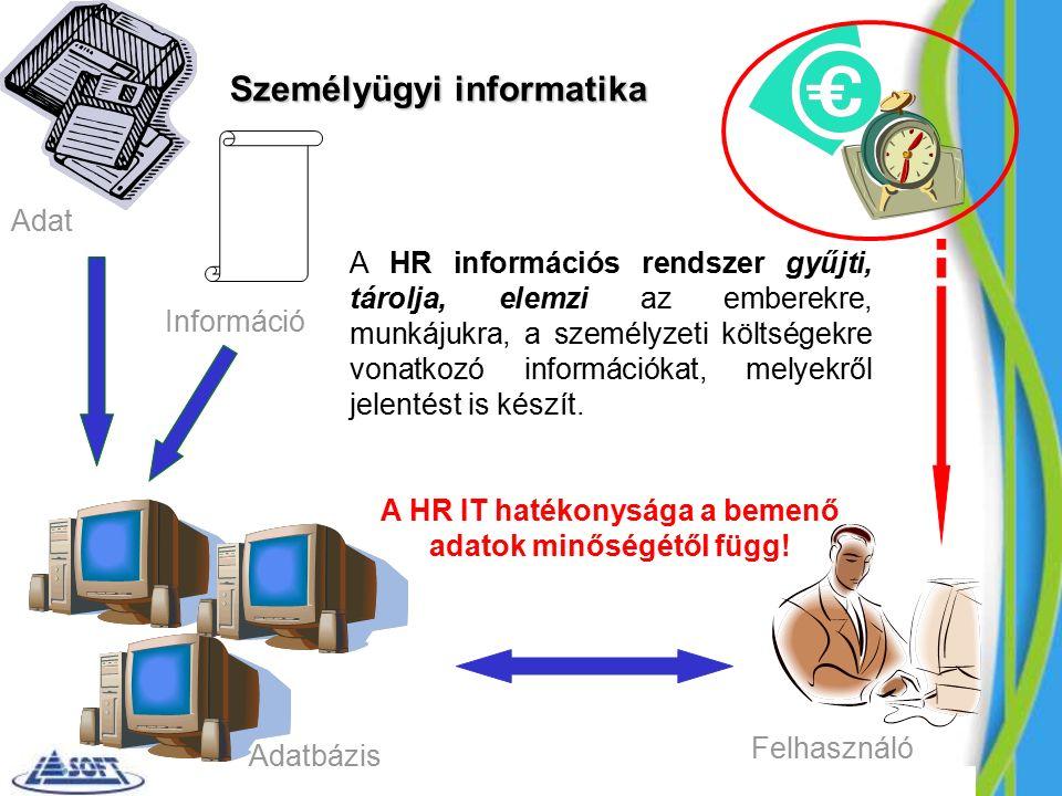 Személyügyi informatika A HR információs rendszer gyűjti, tárolja, elemzi az emberekre, munkájukra, a személyzeti költségekre vonatkozó információkat, melyekről jelentést is készít.