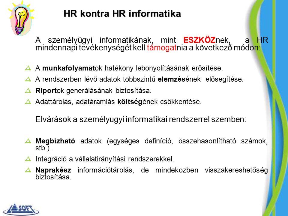 HR kontra HR informatika A személyügyi informatikának, mint ESZKÖZnek, a HR mindennapi tevékenységét kell támogatnia a következő módon: A munkafolyamatok hatékony lebonyolításának erősítése.