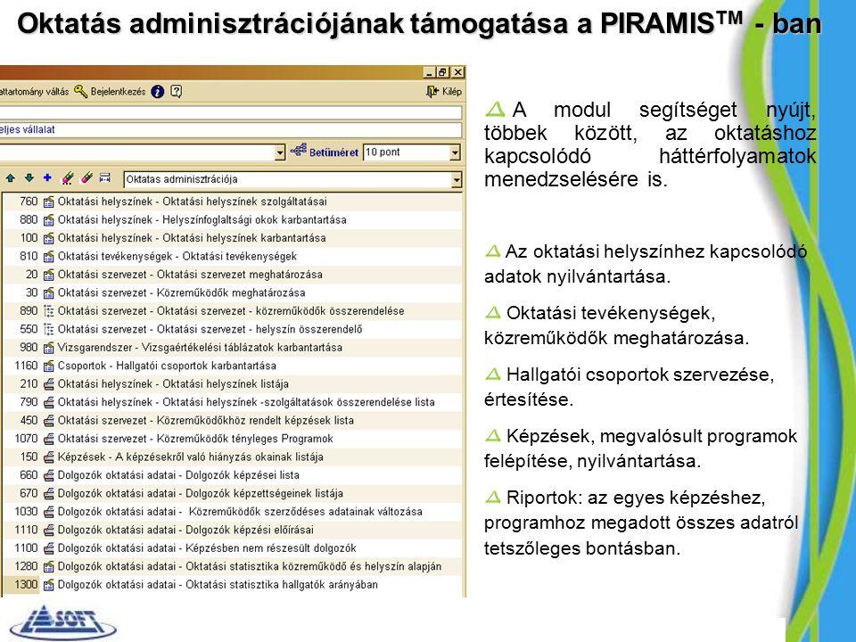 Oktatás adminisztrációjának támogatása a PIRAMIS TM - ban A modul segítséget nyújt, többek között, az oktatáshoz kapcsolódó háttérfolyamatok menedzselésére is.
