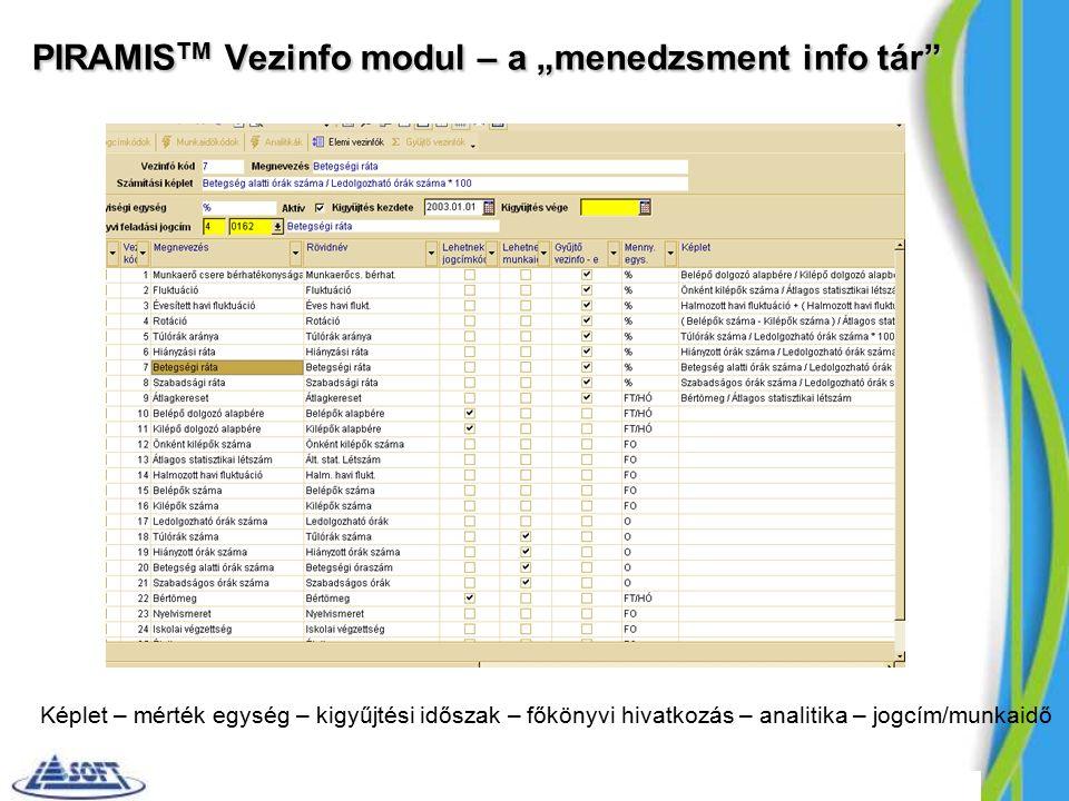 """PIRAMIS TM Vezinfo modul – a """"menedzsment info tár Képlet – mérték egység – kigyűjtési időszak – főkönyvi hivatkozás – analitika – jogcím/munkaidő"""