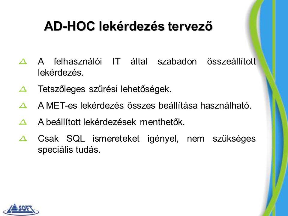 AD-HOC lekérdezés tervező A felhasználói IT által szabadon összeállított lekérdezés.