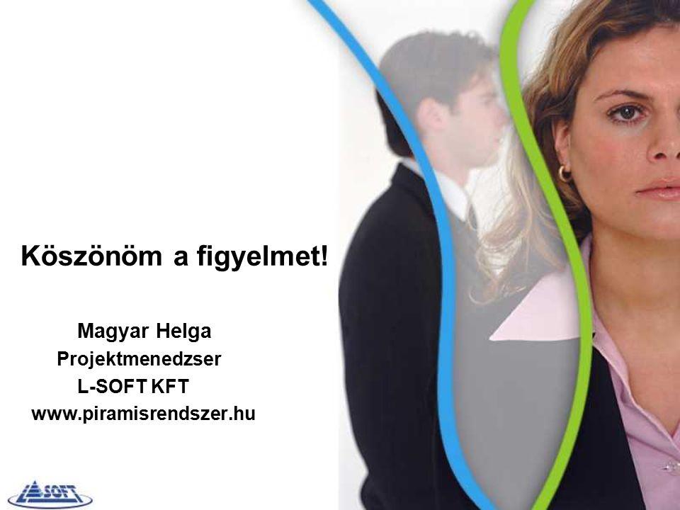 Köszönöm a figyelmet! Magyar Helga Projektmenedzser L-SOFT KFT www.piramisrendszer.hu
