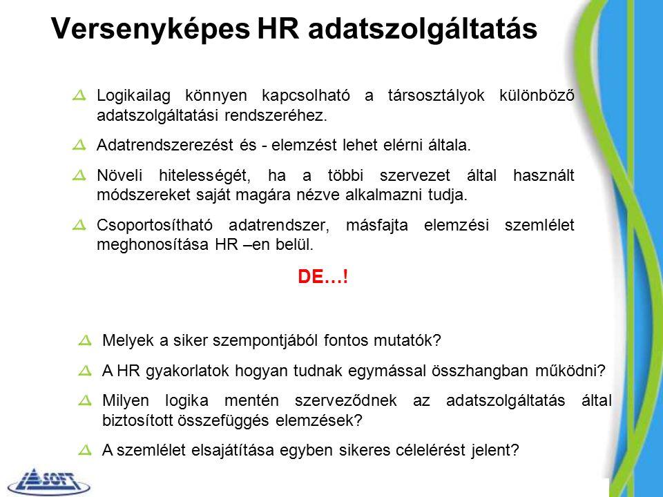 Versenyképes HR adatszolgáltatás Logikailag könnyen kapcsolható a társosztályok különböző adatszolgáltatási rendszeréhez.