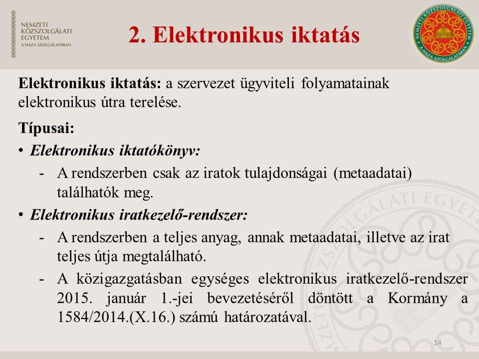 2. Elektronikus iktatás Elektronikus iktatás: a szervezet ügyviteli folyamatainak elektronikus útra terelése. Típusai: Elektronikus iktatókönyv: -A re