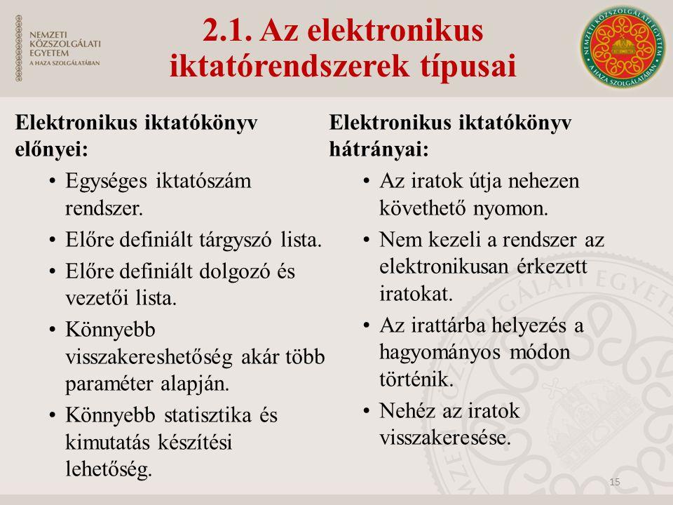 2.1. Az elektronikus iktatórendszerek típusai Elektronikus iktatókönyv előnyei: Egységes iktatószám rendszer. Előre definiált tárgyszó lista. Előre de
