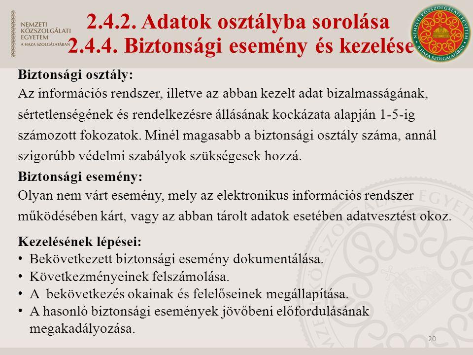 2.4.2. Adatok osztályba sorolása 2.4.4. Biztonsági esemény és kezelése Biztonsági osztály: Az információs rendszer, illetve az abban kezelt adat bizal