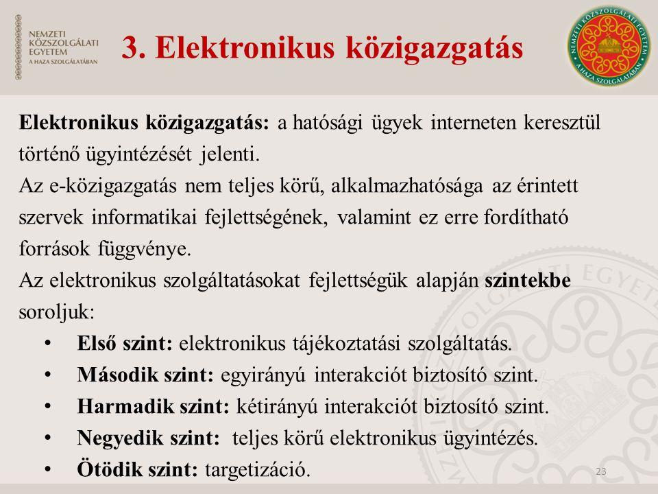 3. Elektronikus közigazgatás Elektronikus közigazgatás: a hatósági ügyek interneten keresztül történő ügyintézését jelenti. Az e-közigazgatás nem telj