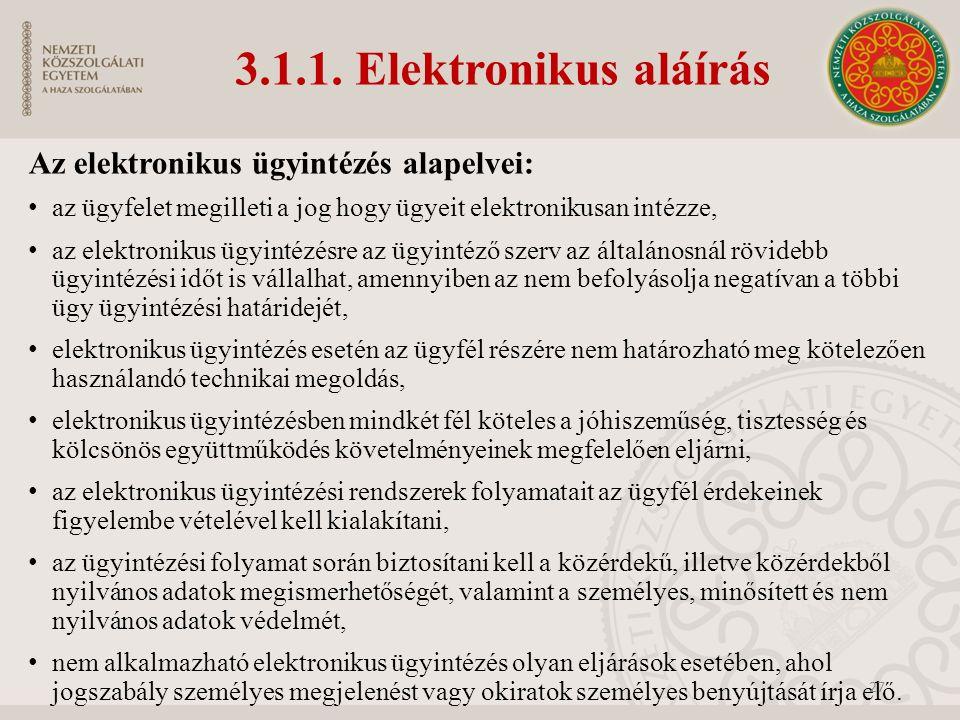 3.1.1. Elektronikus aláírás Az elektronikus ügyintézés alapelvei: az ügyfelet megilleti a jog hogy ügyeit elektronikusan intézze, az elektronikus ügyi