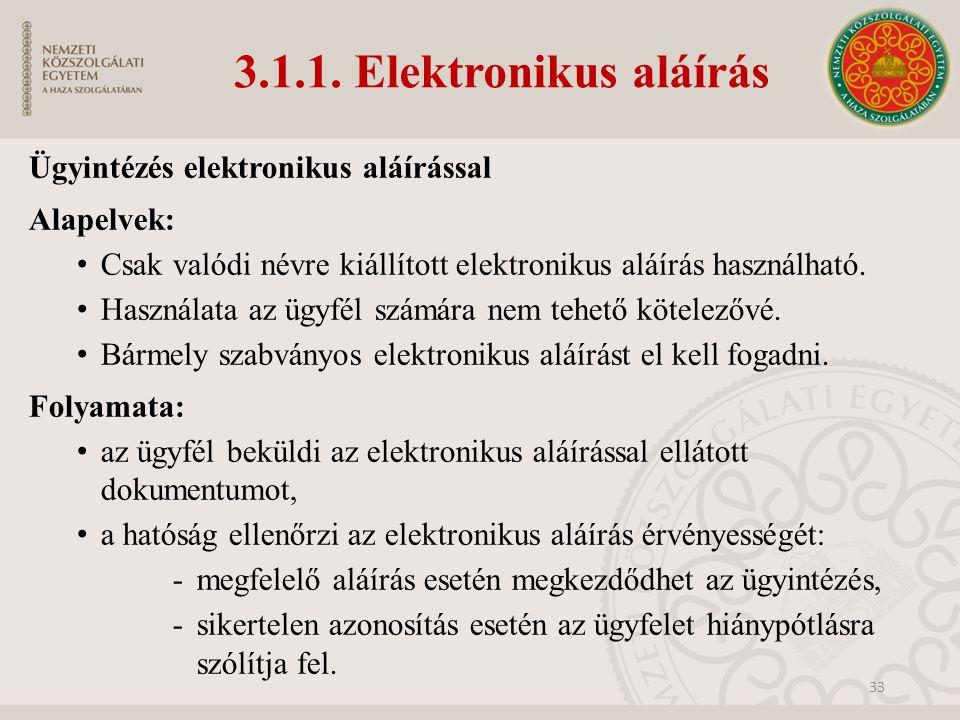 3.1.1. Elektronikus aláírás Ügyintézés elektronikus aláírással Alapelvek: Csak valódi névre kiállított elektronikus aláírás használható. Használata az