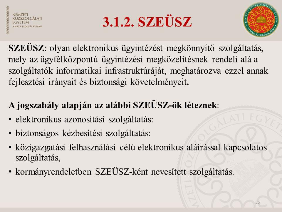 3.1.2. SZEÜSZ SZEÜSZ: olyan elektronikus ügyintézést megkönnyítő szolgáltatás, mely az ügyfélközpontú ügyintézési megközelítésnek rendeli alá a szolgá