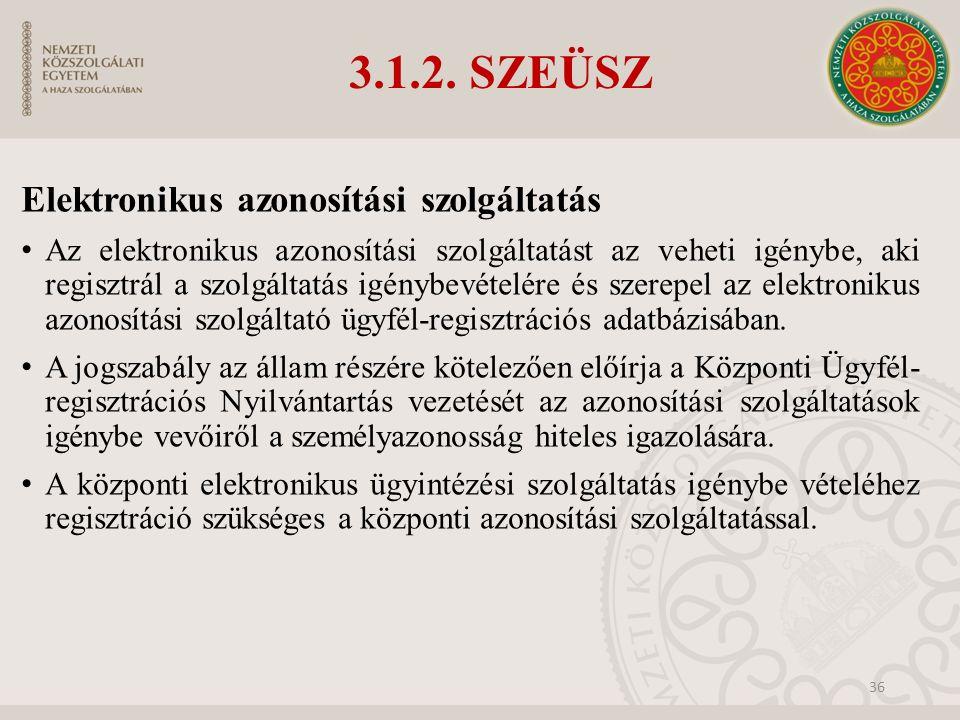 3.1.2. SZEÜSZ Elektronikus azonosítási szolgáltatás Az elektronikus azonosítási szolgáltatást az veheti igénybe, aki regisztrál a szolgáltatás igénybe