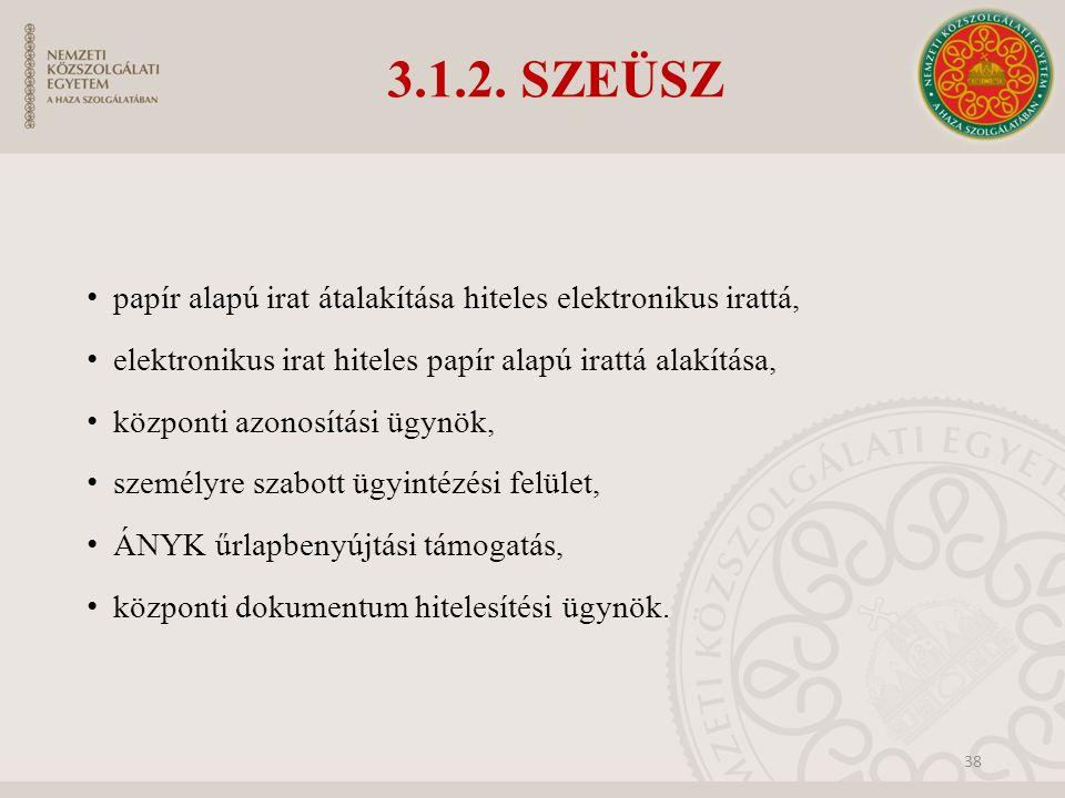3.1.2. SZEÜSZ papír alapú irat átalakítása hiteles elektronikus irattá, elektronikus irat hiteles papír alapú irattá alakítása, központi azonosítási ü