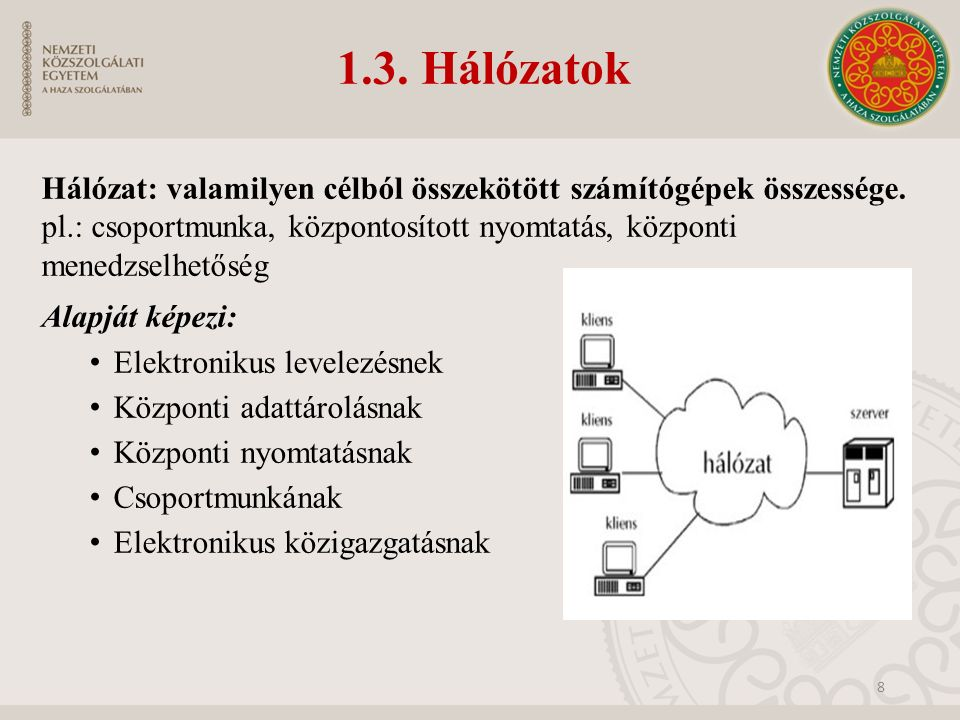 1.3. Hálózatok Hálózat: valamilyen célból összekötött számítógépek összessége. pl.: csoportmunka, központosított nyomtatás, központi menedzselhetőség