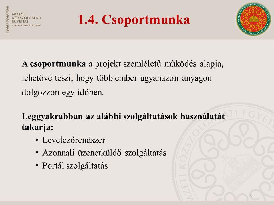 1.4. Csoportmunka A csoportmunka a projekt szemléletű működés alapja, lehetővé teszi, hogy több ember ugyanazon anyagon dolgozzon egy időben. Leggyakr