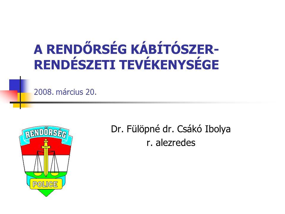 A RENDŐRSÉG KÁBÍTÓSZER- RENDÉSZETI TEVÉKENYSÉGE 2008.