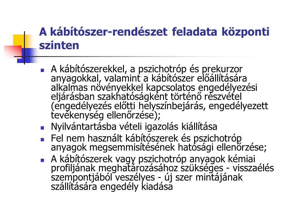 A kábítószer-rendészet feladata központi szinten A kábítószerekkel, a pszichotróp és prekurzor anyagokkal, valamint a kábítószer előállítására alkalmas növényekkel kapcsolatos engedélyezési eljárásban szakhatóságként történő részvétel (engedélyezés előtti helyszínbejárás, engedélyezett tevékenység ellenőrzése); Nyilvántartásba vételi igazolás kiállítása Fel nem használt kábítószerek és pszichotróp anyagok megsemmisítésének hatósági ellenőrzése; A kábítószerek vagy pszichotróp anyagok kémiai profiljának meghatározásához szükséges - visszaélés szempontjából veszélyes - új szer mintájának szállítására engedély kiadása