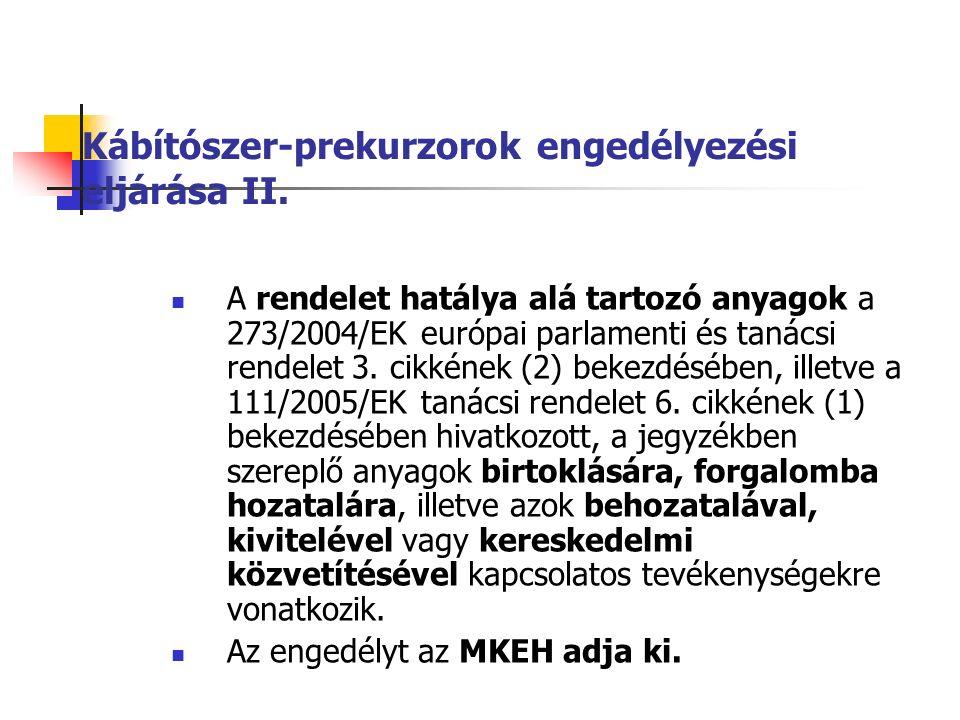 Kábítószer-prekurzorok engedélyezési eljárása II.