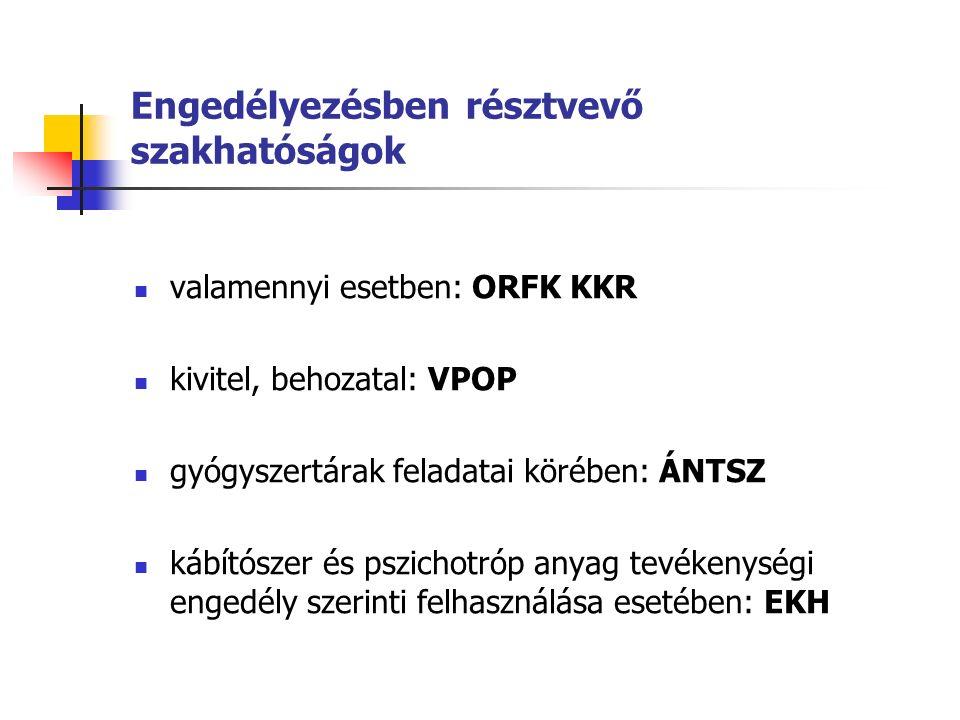 Engedélyezésben résztvevő szakhatóságok valamennyi esetben: ORFK KKR kivitel, behozatal: VPOP gyógyszertárak feladatai körében: ÁNTSZ kábítószer és pszichotróp anyag tevékenységi engedély szerinti felhasználása esetében: EKH