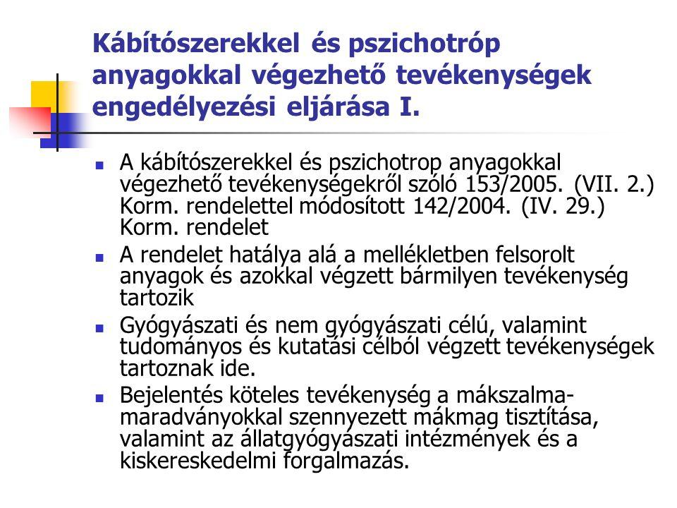Kábítószerekkel és pszichotróp anyagokkal végezhető tevékenységek engedélyezési eljárása I.