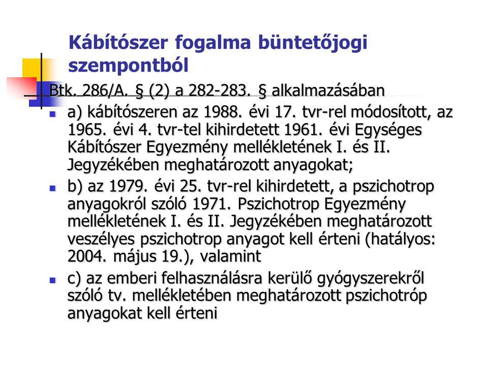 Kábítószer fogalma büntetőjogi szempontból Btk. 286/A.