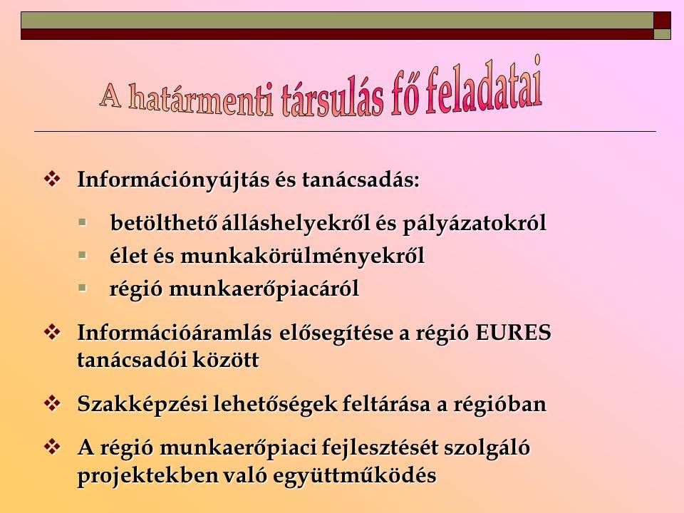  Információnyújtás és tanácsadás:  betölthető álláshelyekről és pályázatokról  élet és munkakörülményekről  régió munkaerőpiacáról  Információáramlás elősegítése a régió EURES tanácsadói között  Szakképzési lehetőségek feltárása a régióban  A régió munkaerőpiaci fejlesztését szolgáló projektekben való együttműködés