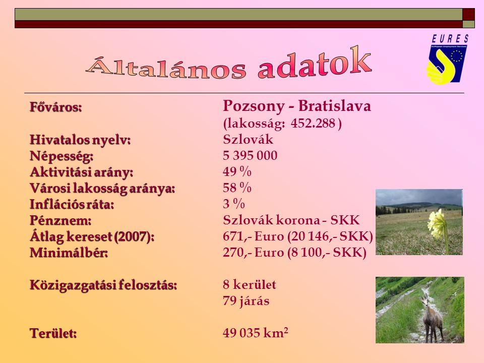 Főváros: Főváros: Pozsony - Bratislava (lakosság: 452.288 ) Hivatalos nyelv: Hivatalos nyelv:Szlovák Népesség: Népesség:5 395 000 Aktivitási arány: Aktivitási arány: 49 % Városi lakosság aránya: Városi lakosság aránya:58 % Inflációs ráta: Inflációs ráta: 3 % Pénznem: Pénznem:Szlovák korona - SKK Átlag kereset (2007): Átlag kereset (2007): 671,- Euro (20 146,- SKK) Minimálbér: Minimálbér:270,- Euro (8 100,- SKK) Közigazgatási felosztás: Közigazgatási felosztás: 8 ker ület 79 járás Ter ület : Ter ület :49 035 km 2
