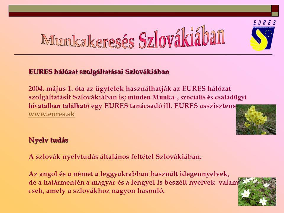 EURES hálózat szolgáltatásai Szlovákiában 2004. május 1.