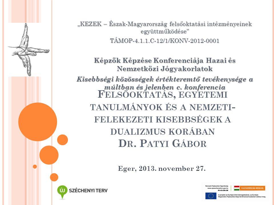 A BÉCSI FELSŐOKTATÁSI INTÉZMÉNYEKBEN TANULÓ MAGYARORSZÁGI HALLGATÓK ANYANYELVI MEGOSZLÁSA (1890-1918) AnyanyelvArány Magyar50,8 % Német37 % Román5 % Szerb3,4 % Szlovák1,1 % Egyéb2,7 %