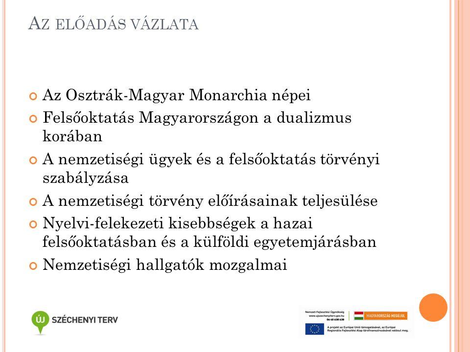 A Z ELŐADÁS VÁZLATA Az Osztrák-Magyar Monarchia népei Felsőoktatás Magyarországon a dualizmus korában A nemzetiségi ügyek és a felsőoktatás törvényi szabályzása A nemzetiségi törvény előírásainak teljesülése Nyelvi-felekezeti kisebbségek a hazai felsőoktatásban és a külföldi egyetemjárásban Nemzetiségi hallgatók mozgalmai