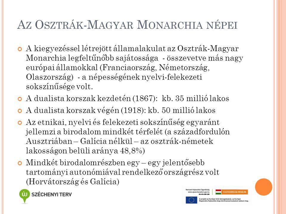 M AGYARORSZÁG LAKOSSÁGÁNAK ANYANYELVI – FELEKEZETI TAGOZÓDÁSA A SZÁZADFORDULÓN (H ORVÁTORSZÁG NÉLKÜL ) Anyanyelv (1900) Felekezet (1910) Magyar – 51,4% Római kat.